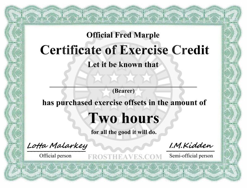 Certificate of Exercise Credit